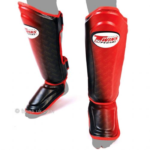 Twins Black/Red Fade Shin Guards